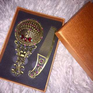 Vintage Peacock Mirror and Comb Set
