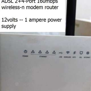 aztech 2 + 4 port wireless n modem router