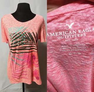 American Eagle Outfitters Neon Pink Printed Shirt