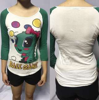 Graphic Tee with Green Sleeves
