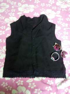 Polo black sleeveless croptop