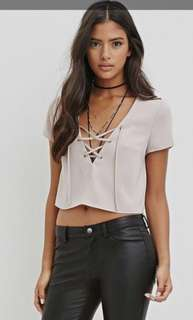 Beige lace up crop top forever 21