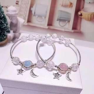 天然爆花白水晶海藍寶草莓晶手鏈 配925銀星月吊飾