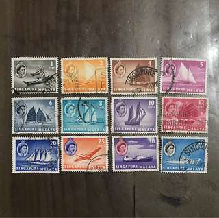 Singapore 1955 Straits Queen Eliz stamps boats set 12v Used