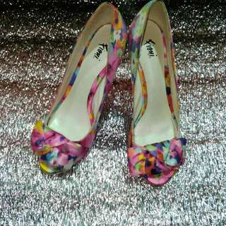 Fioni Peep Toe Pumps Pink Floral High Heels Slip On Shoe Bow