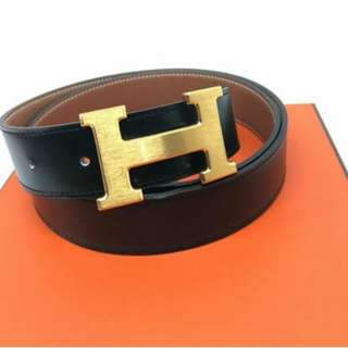 👉HERMES Belt Black Gold # jj