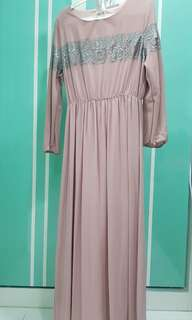 Poplook XL pink dusty dress with lace