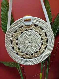 Bali Rattan Bag white