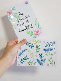 [SALE][INSTOCK] Floral Painted Calligraphy Cards