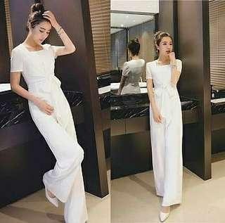Ec  Js waity l atasan fashion baju jumpsuit jumpsit putih jumpsuit wahite wanita