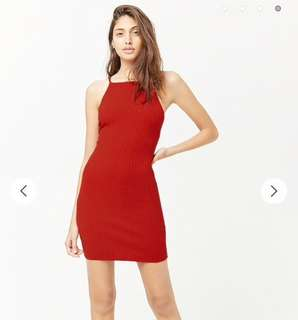 Forever 21 Red Knit Strappy Back Midi Bodycon Dress