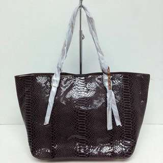 Authentic Michael Kors Gia Python-embossed Leather Tote