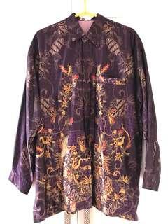 Batik satin silk ungu tua berpuring