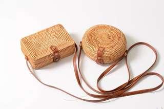 🚚 ins同款峇里島手工編織圓形單肩斜跨包藤編草編包