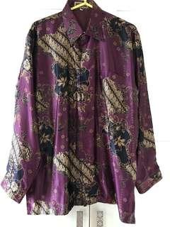 Batik marun satin silk motif parang