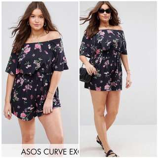 3D Floral Off Shoulder Plus Size Jumpshort