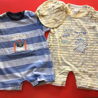 (6-12 mos) Carter's and Teeny Tiny Summer Rompers for baby boys