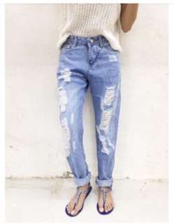 Jeans Pants Tattered Ripped Loose Fit Size 34