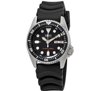 Seiko SKX013K1 Automatic Divers Black Rubber Jam Tangan Pria SKX013