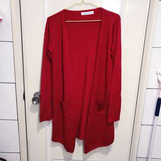 Airspace正紅色針織開襟衫