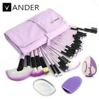 Vander 32pcs Make Up Brush Set + Puff, Sponge, Egg (Purple)