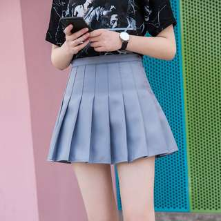 Solid Coloured Korean Style Pleated Designed Tennis Skirt