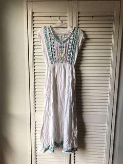Embroidered Aztec White Maxi Dress