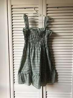 Plaid Gingham Green Smock Dress