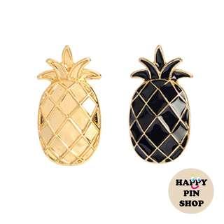 3D Black & Gold Pineapple Enamel Pins (Summer Vacay)