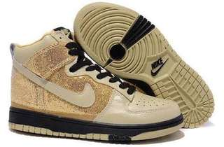 Womens Glitter Nike SB Dunk High Tops Shoes Gold Black