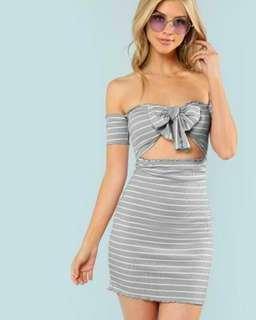 Knot Striped Ribbed Dress