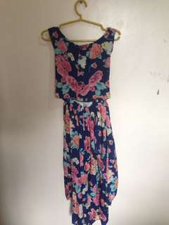 Floral Long Dress (Backless)