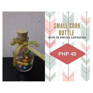 Small Cork Bottle with 20 pieces Message Capsules