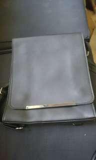 Black Box type leather sling bag/knapsack