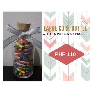 Large Cork Bottle with 75 pieces Message Capsules