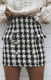 Dog Tooth Woolen Mini Skirt