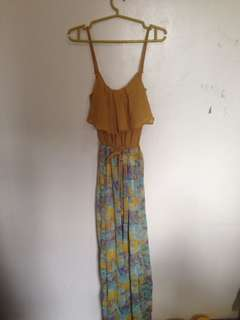 Long Floral Dress (Yellow)