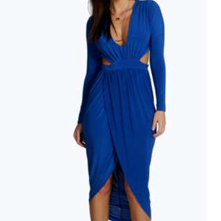 Cobalt Blue Cut Out Wrap Midi Dress- Size 12