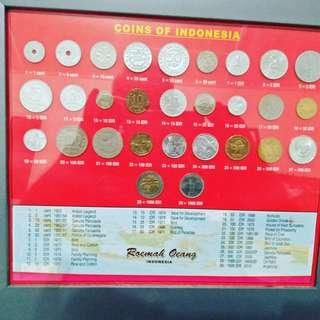Coins of Indonesia, dalam bingkai kaca.