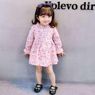 Korea Stylist Floral Long-sleeves Girl Mini Dress
