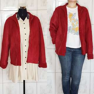 Red Faux Wool Lined Jacket