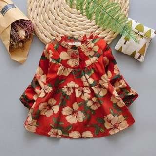 Korea Stylist Floral Long-sleeves Girl Mini Dress  Material : Cotton Thickness : Moderate