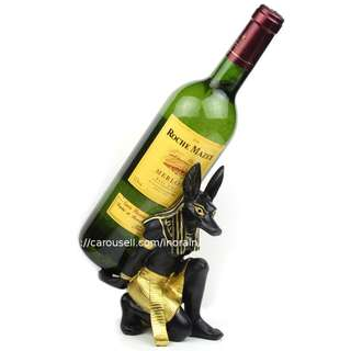 Ancient Egyptian Anubis Gods Wine Holder Home Decorative Ornaments Wine Bottle Stands Egypt Display