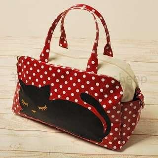 🚚 日本pooh chan 可愛閉眼貓點點兩用旅行包波士托包