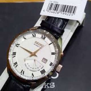Seiko SRN073P1 Men Kinetic White Black Leather Jam Tangan Pria SRN073