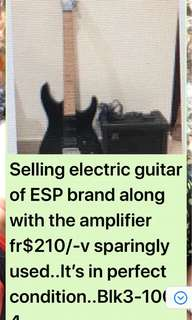 Electric guitar almost new along with amplifier
