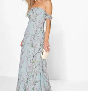 Floral Off Shoulder Maxi Dress- Size 12