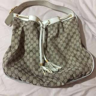 Gucci hobo canvas mix leather