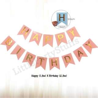 *SALES* Happy Birthday Flag Banners (Pink)