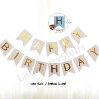 *SALES* Happy Birthday Flag Banners (White)